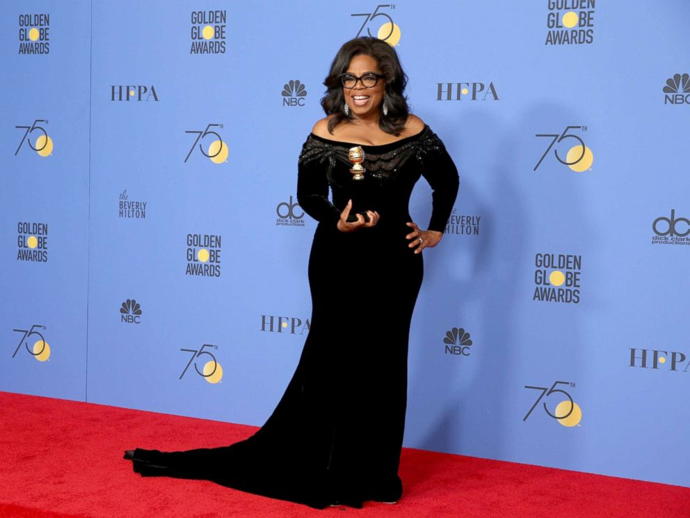 PHOTO: Oprah Winfrey accepts the Cecil B. Demille award at the 75th annual Golden Globe awards, Jan. 7, 2018, in Beverly Hills, Calif.