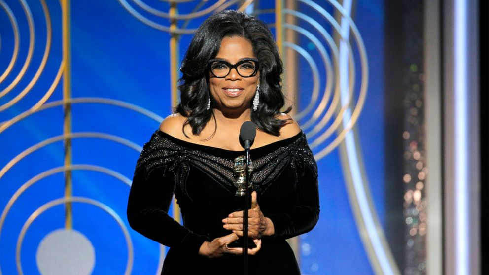 At the 75th Annual Golden Globe Awards, Oprah Winfrey accepts the Cecil B. DeMille Award, Jan. 7, 2018, in Beverly Hills, Calif.