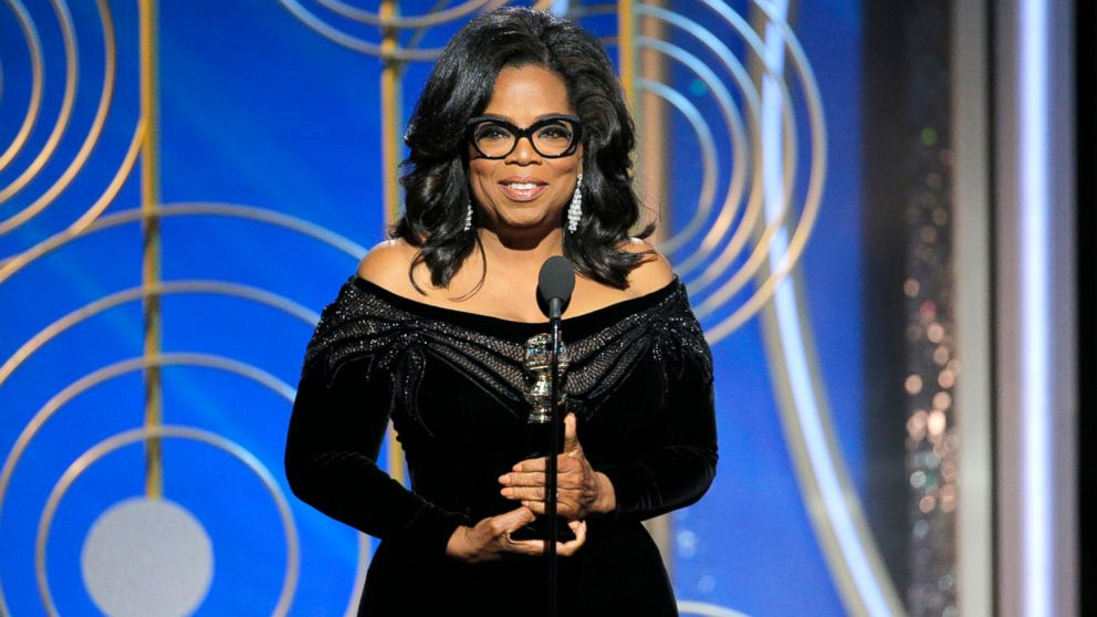 Oprah Winfrey accepts the Cecil B. DeMille Award at the 75th Annual Golden Globe Awards,  Jan. 7, 2018, in Beverly Hills, Calif.