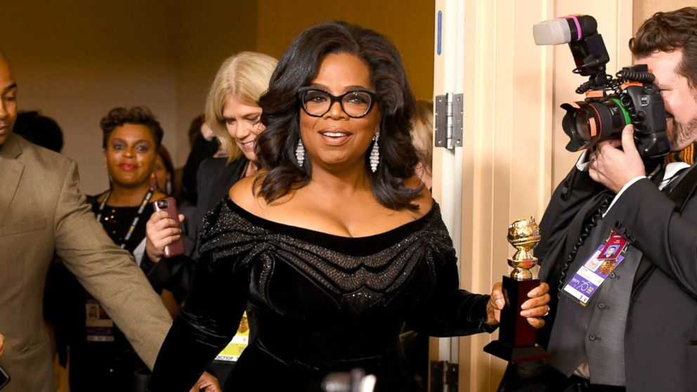 Oprah Winfrey arrives with the Cecil B. DeMille Award in the press room during The 75th Annual Golden Globe Awards at The Beverly Hilton Hotel, Jan. 7, 2018, in Beverly Hills, Calif.