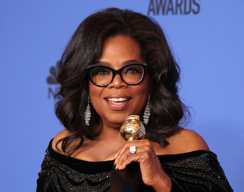 PHOTO: Oprah Winfrey poses backstage with her Cecil B. DeMille Award during the 75th Annual Golden Globe Awards, Jan. 7, 2018 in Beverly Hills, Calif.