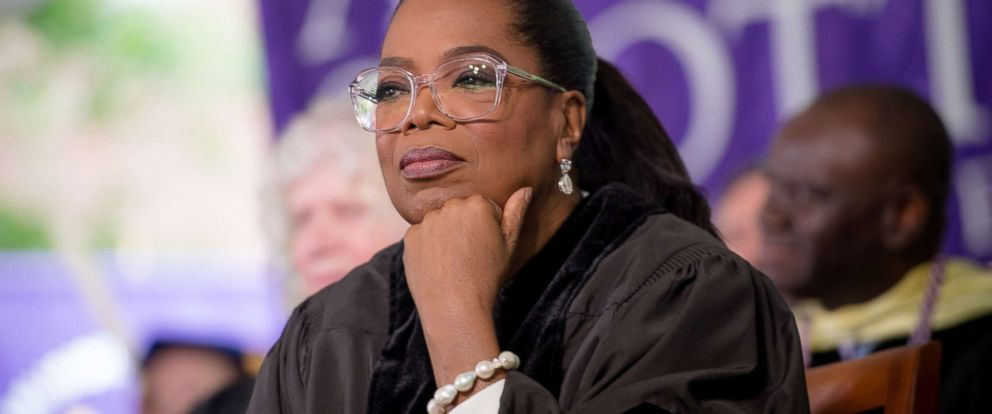 PHOTO: Oprah Winfrey on stage during the Agnes Scott College 2017 Commencement at Agnes Scott College, on May 13, 2017, in Decatur, Ga.