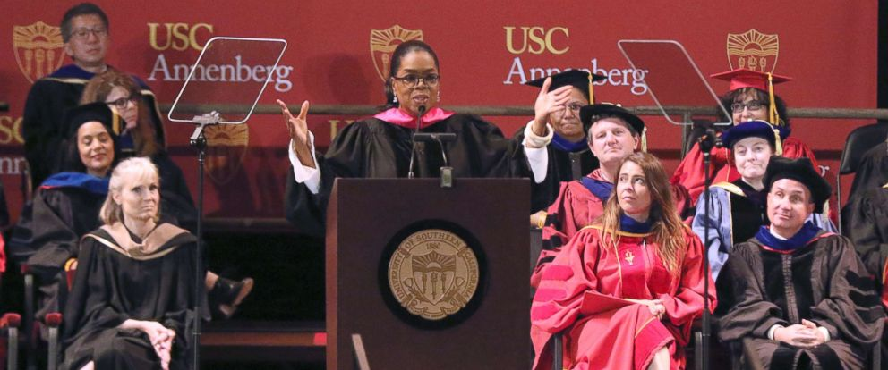 PHOTO: Oprah Winfrey, center, addresses USC Annenberg Class of 2018 at the Shrine Auditorium, May 11, 2018, in Los Angeles.