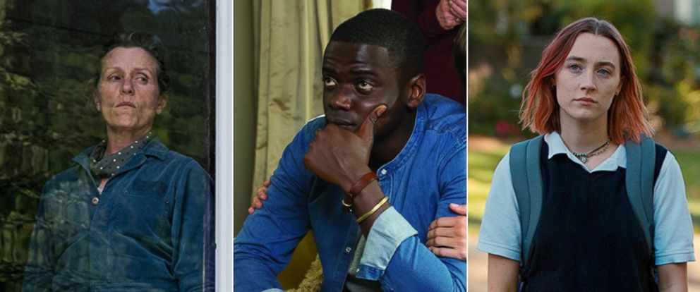 "PHOTO: Frances McDormand, left, in a scene from ""Three Billboards Outside Ebbing, Missouri,"" Daniel Kaluuya in a scene from ""Get Out,"" and Saoirse Ronan in a scene from ""Lady Bird."""