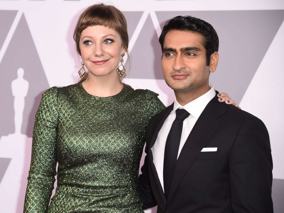 PHOTO: Emily V. Gordon (L) and Kumail Nanjiani, nominated for original screenplay for The Big Sick, arrive for the Annual Academy Awards Nominee Luncheon at the Beverly Hilton Hotel in Beverly Hills, Calif., Feb. 5, 2018.