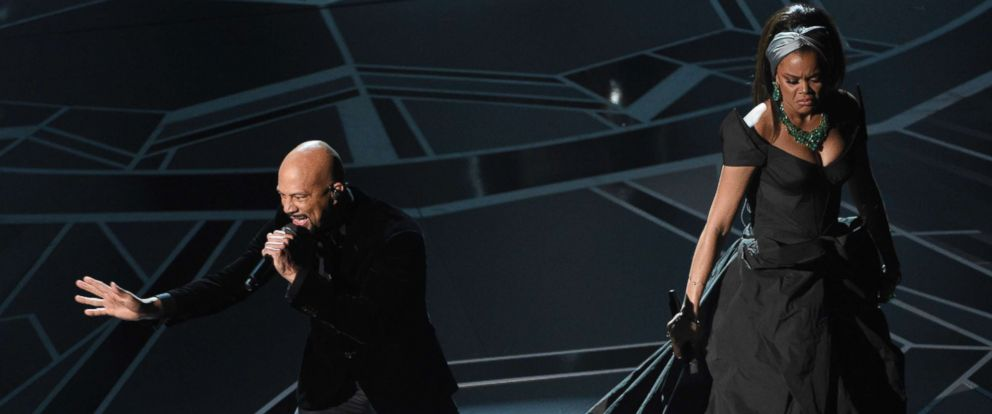 """PHOTO: Common and Andra Day perform """"Stand Up For Something"""" from the film """"Marshall"""" at the Oscars, March 4, 2018, at the Dolby Theatre in Los Angeles."""