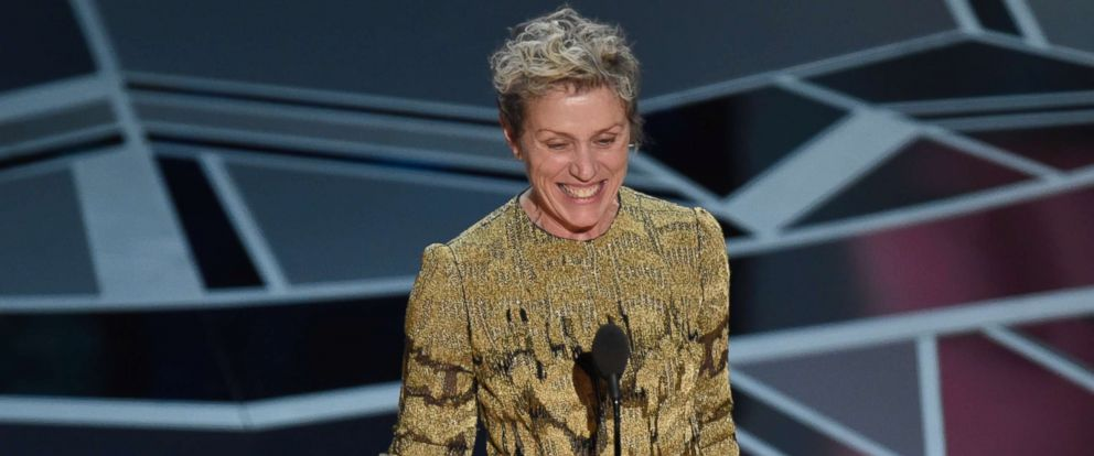 "PHOTO: Frances McDormand accepts the award for best performance by an actress in a leading role for ""Three Billboards Outside Ebbing, Missouri"" at the Oscars at the Dolby Theatre in Los Angeles, March 4, 2018."