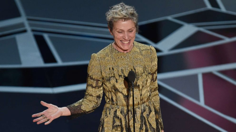 "Frances McDormand accepts the award for best performance by an actress in a leading role for ""Three Billboards Outside Ebbing, Missouri"" at the Oscars at the Dolby Theatre in Los Angeles, March 4, 2018."