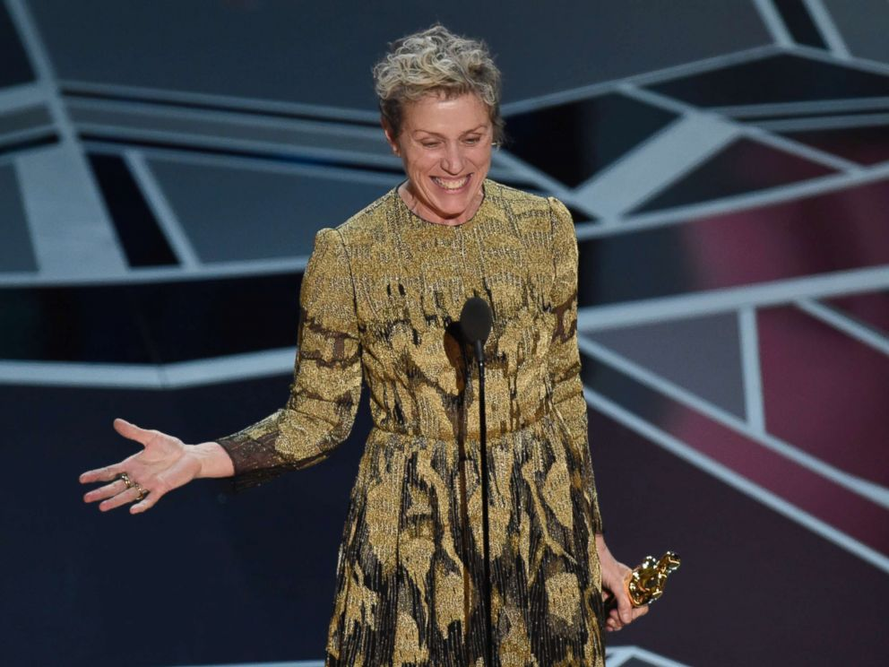 PHOTO: Frances McDormand accepts the award for best performance by an actress in a leading role for Three Billboards Outside Ebbing, Missouri at the Oscars at the Dolby Theatre in Los Angeles, March 4, 2018.