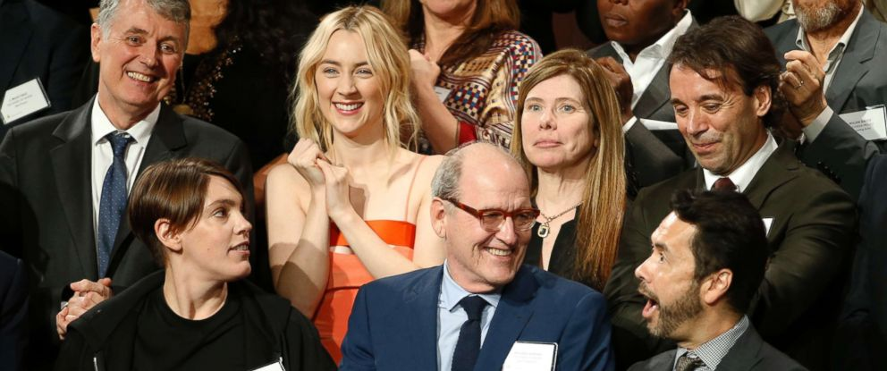 PHOTO: Saoirse Ronan, top row left, and Richard Jenkins, bottom row center, stand for a group portrait with fellow nominees at the 90th Academy Awards Nominees Luncheon at The Beverly Hilton hotel, Feb. 5, 2018, in Beverly Hills, Calif.