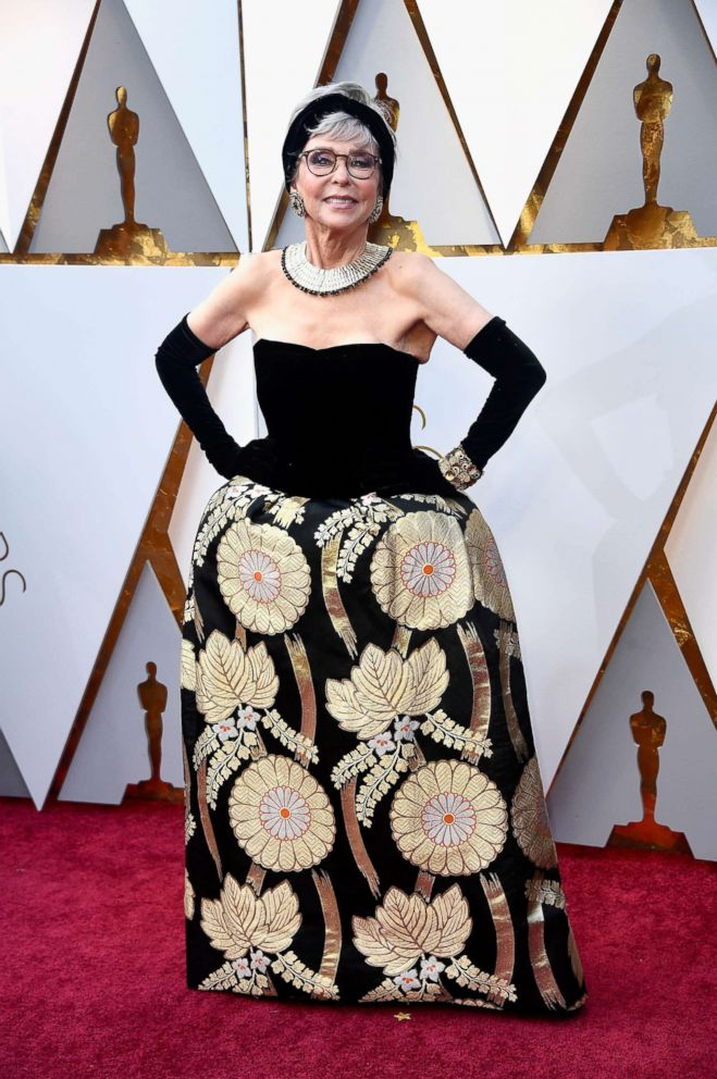PHOTO: Rita Moreno arrives on the red carpet for the Oscars, March 4, 2018 in Hollywood, Calif.
