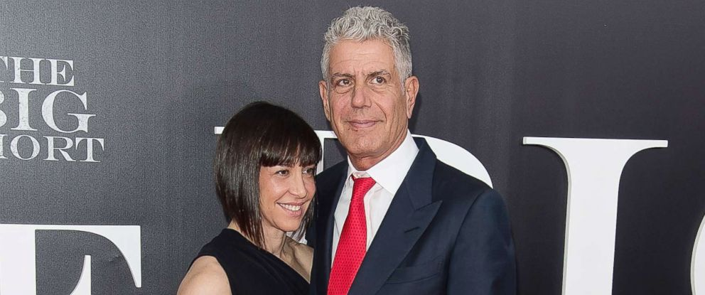 "PHOTO: Ottavia Busia and chef Anthony Bourdain attend ""The Big Short"" New York premiere at Ziegfeld Theater, Nov. 23, 2015, in New York."
