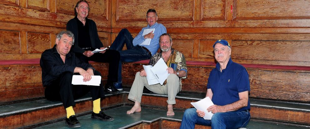 PHOTO: Terry Jones, Eric Idle, Michael Palin, Terry Gilliam and John Cleese are seen on June 16, 2014, the first day of rehearsals in London, for their new show Monty Python Live (mostly) which is on at the O2 Arena in London in July.