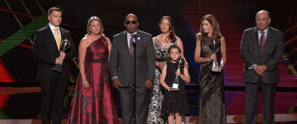 PHOTO: The 2018 ESPY awards honored the 3 coaches who were killed during the mass shooting at Marjory Stoneman-Douglas High School in Parkland Florida, with the Best Coach award, July 17, 2018.