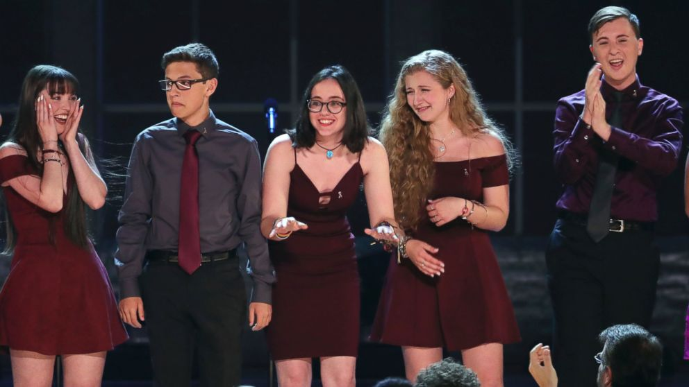 "Students from the Marjory Stoneman Douglas High School drama department react after performing ""Seasons of Love"" at the 72nd annual Tony Awards at Radio City Music Hall on Sunday, June 10, 2018, in New York."