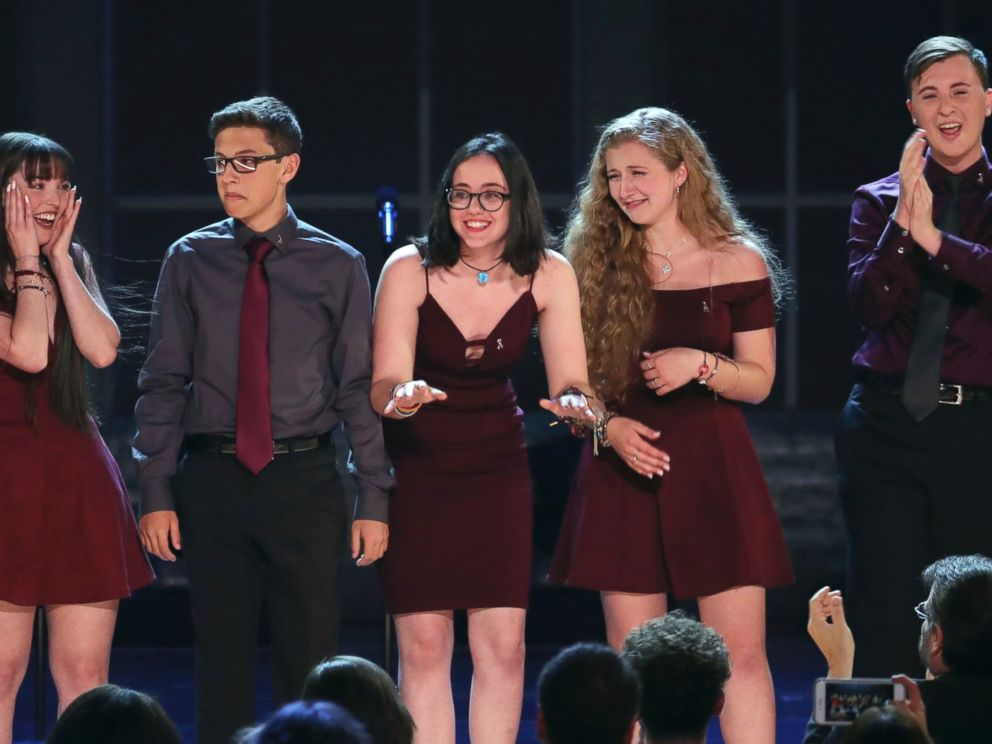 Students from the Marjory Stoneman Douglas High School drama department react after performing Seasons of Love at the 72nd annual Tony Awards at Radio City Music Hall on Sunday, June 10, 2018, in New York.