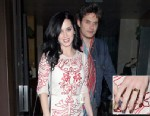 PHOTO: Musical couple Katy Perry and John Mayer are seen leaving Vincenti restaurant after having dinner on Valentines Day in Brentwood, Los Angeles, Feb. 14, 2013. Katy could be seen showing off a large ruby red ring on her engagement finger as she left
