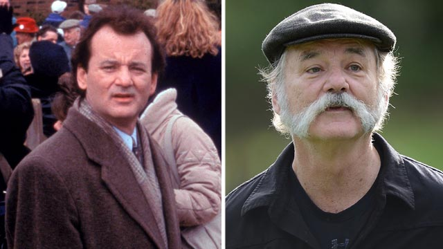 """PHOTO: Bill Murray, left, in a scene from the movie, """"Groundhog Day."""" Bill Murray walks up a fairway during the first round of the AT&T Pebble Beach National Pro-Am at the Monterey Peninsula Country Club, Feb. 7, 2013, in Pebble Beach, Calif."""