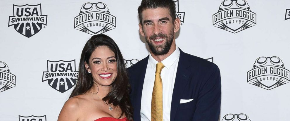 PHOTO: Michael Phelps and his wife Nicole Johnson attend the 2017 USA Swimming Golden Goggle Awards at J.W. Marriott at L.A. Live, Nov. 19, 2017, in Los Angeles.