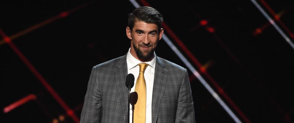 PHOTO: Michael Phelps accepts the award for best record-breaking performance at the ESPYS at the Microsoft Theater on July 12, 2017, in Los Angeles.
