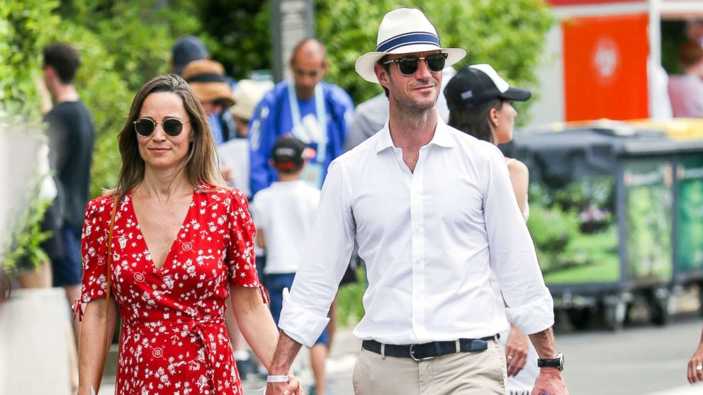 Pippa Middleton and James Matthews attend Day One of the 2018 French Open at Roland Garros stadium in Paris.