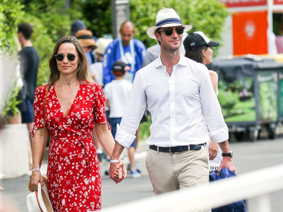 PHOTO: Pippa Middleton and James Matthews attend Day One of the 2018 French Open at Roland Garros stadium in Paris.