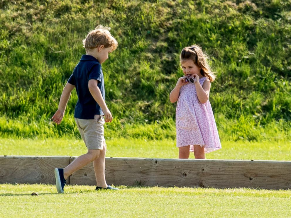 Prince George and Princess Charlotte Play During Prince William's Polo Match