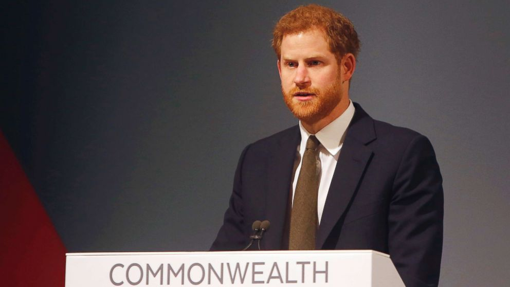 Britain's Prince Harry speaks at the Commonwealth Heads of Government Meeting Youth Forum in London, April 16, 2018.