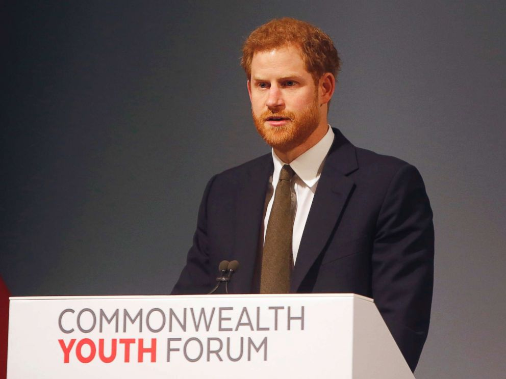 PHOTO: Britains Prince Harry speaks at the Commonwealth Heads of Government Meeting Youth Forum in London, April 16, 2018.