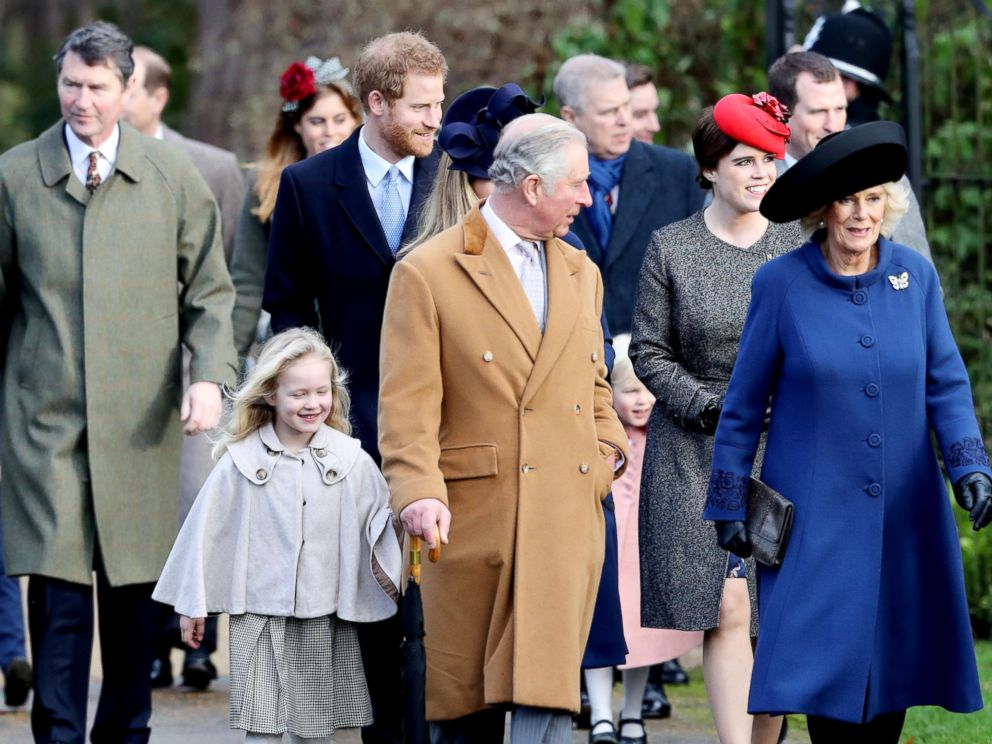 PHOTO: Savannah Phillips, Prince Harry, Prince Charles, Prince of Wales, Princess Eugenie and Camilla, Duchess of Cornwall attend a Christmas Day church service at Sandringham, Dec. 25, 2016 in Kings Lynn, England.