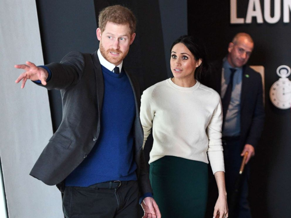 PHOTO: Prince Harry and Meghan Markle during a visit to Titanic Belfast maritime museum, March 23, 2018 in Belfast.