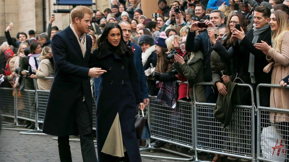 Britain's Prince Harry and his fiancee Meghan Markle arrive at the Terrence Higgins Trust World AIDS Day charity fair, in Nottingham, England, Dec. 1, 2017.