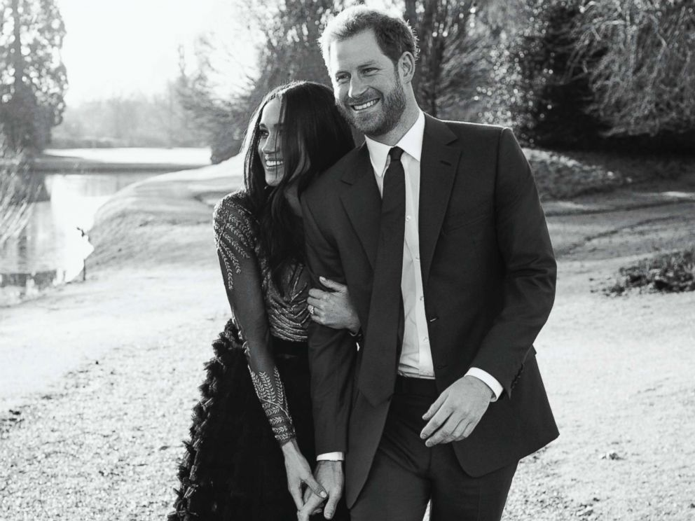 PHOTO: In this photo released by Kensington Palace, Dec. 21, 2017, Britains Prince Harry and Meghan Markle pose an official engagement photo, at Frogmore House, in Windsor, England.