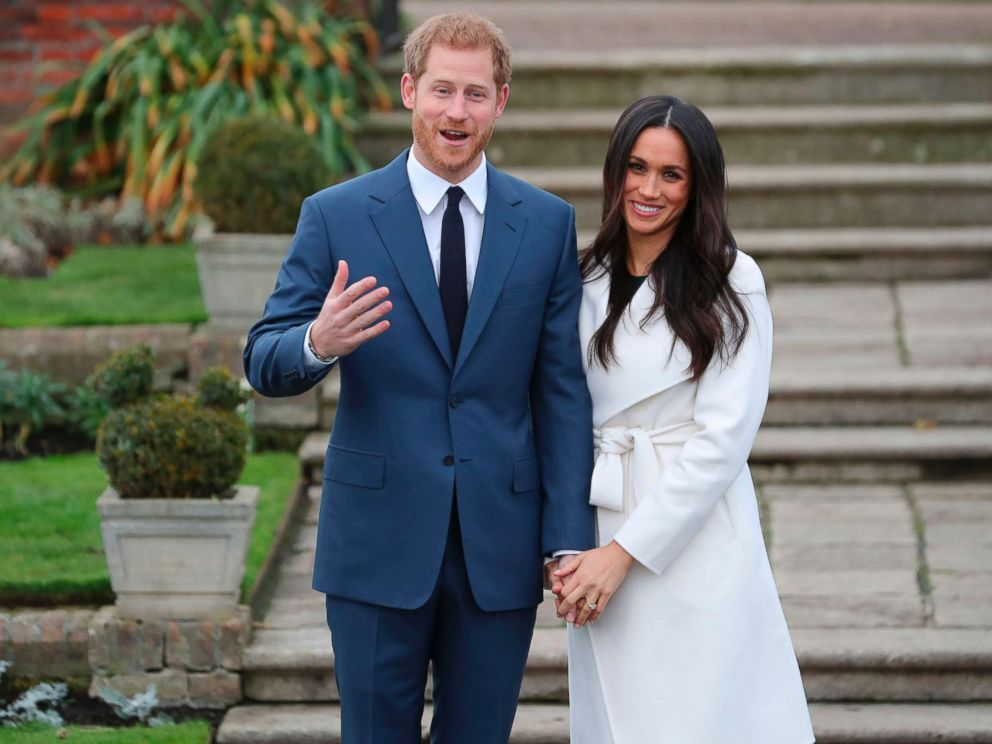 PHOTO: Britains Prince Harry and his fiance U.S. actress Meghan Markle pose for a photograph in the Sunken Garden at Kensington Palace in west London, Nov. 27, 2017, following the announcement of their engagement.