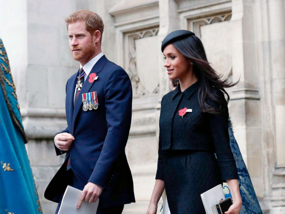 PHOTO: Britains Prince Harry and his fiancee actress Meghan Markle leave after attending a service of commemoration and thanksgiving to mark Anzac Day in Westminster Abbey, April 25, 2018, in London.
