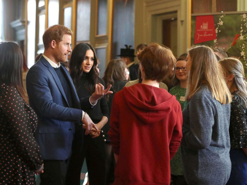 PHOTO: Prince Harry and Meghan Markle during a reception for young people at the Palace of Holyroodhouse, in Edinburgh, during their visit to Scotland, Feb. 13, 2018.