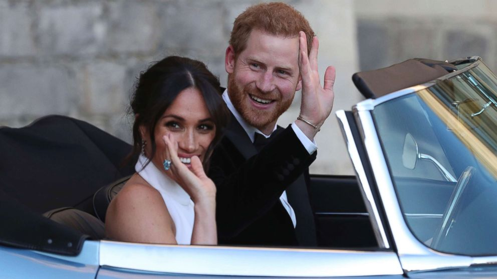 prince harry, meghan markle jet off in jaguar for 2nd wedding