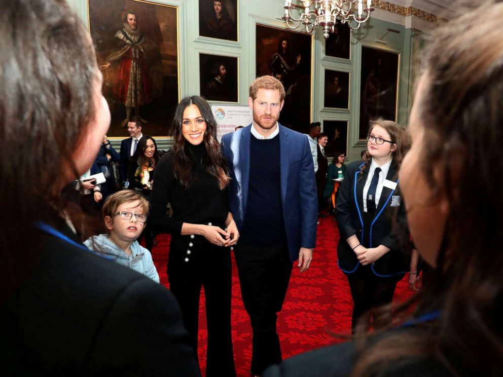 PHOTO: Britains Prince Harry and his fiancee Meghan Markle attend a reception for young people at the Palace of Holyroodhouse, in Edinburgh, Britain, Feb. 13, 2018.