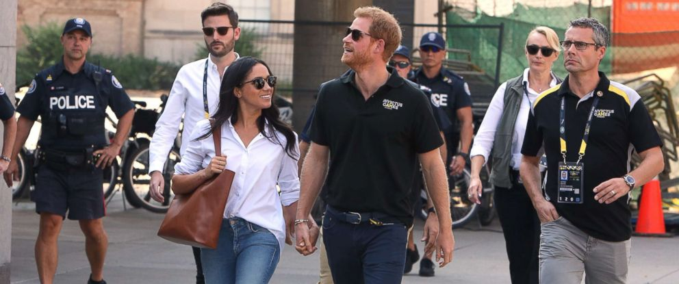 PHOTO: Prince Harry and Meghan Markle attend the wheelchair tennis event together at the Invictus Games in Toronto, Sept. 25, 2017.