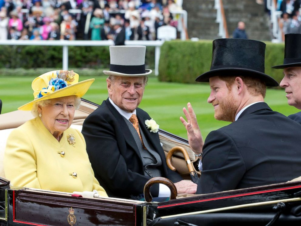 PHOTO: Queen Elizabeth II, and Prince Philip, the Duke of Edinburgh, with Prince Harry, and Prince Andrew,Duke of York, attend the first day of The Royal Ascot race meeting, June 14, 2016, in Ascot, England.