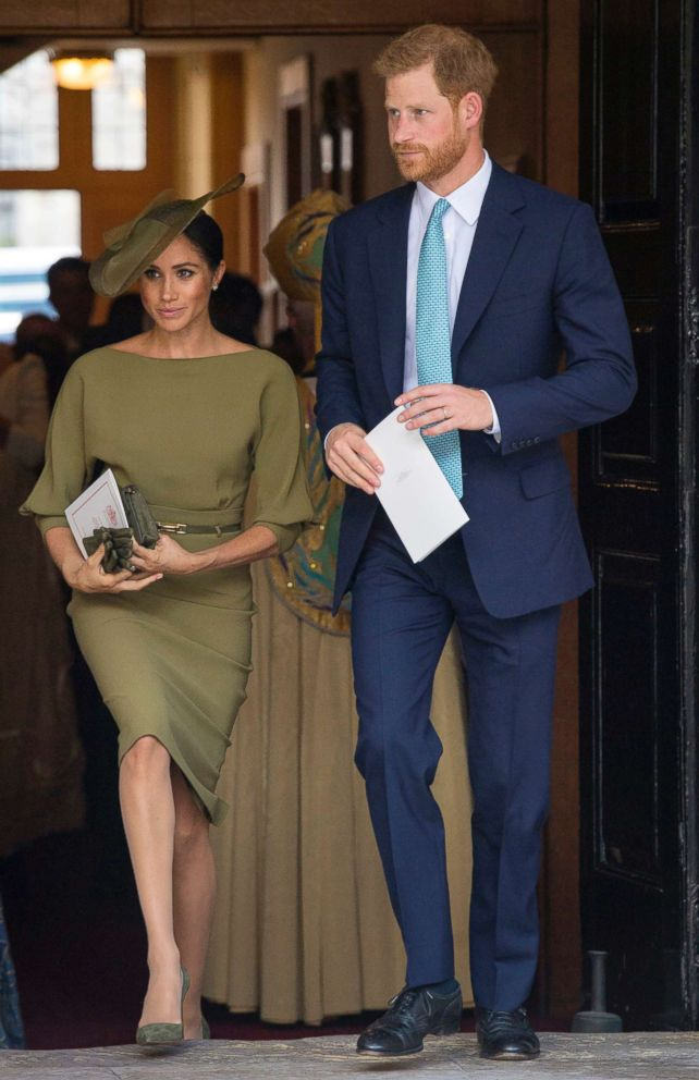 PHOTO: Britains Prince Harry and Meghan Markle, Duchess of Sussex leave after attending the christening service of Prince Louis at the Chapel Royal, St Jamess Palace, London, July 9, 2018.
