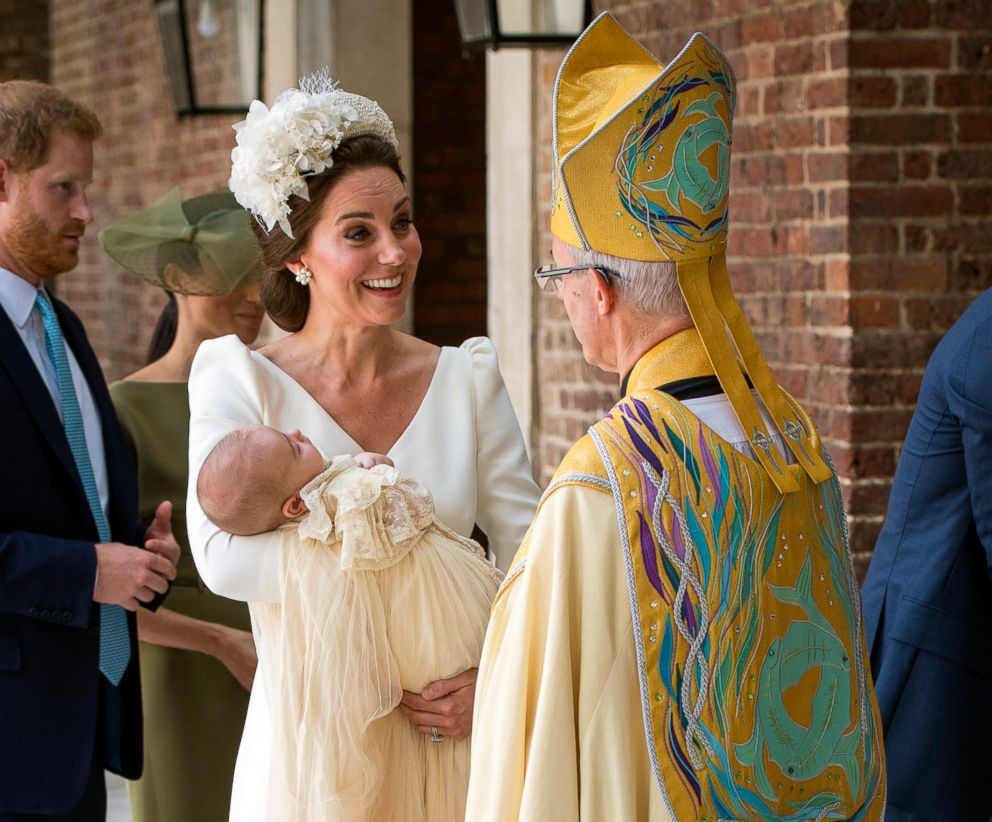 PHOTO: Kate, Duchess of Cambridge speaks to Archbishop of Canterbury Justin Welby as she arrives carrying Prince Louis for his christening service at the Chapel Royal, St Jamess Palace, London, July 9, 2018.