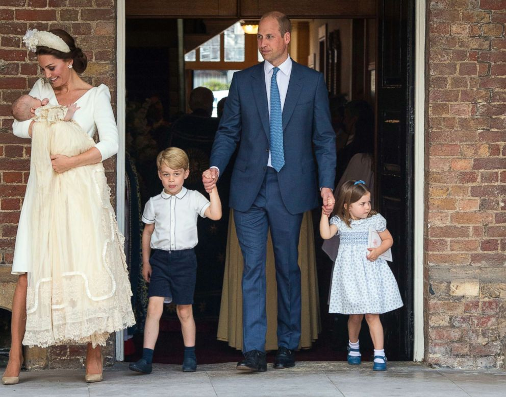 PHOTO: Duchess of Cambridge, Kate and Britains Prince William with their children Prince George, Princess Charlotte and Prince Louis as they arrive for Prince Louis christening service at the Chapel Royal, St Jamess Palace, London, July 9, 2018.