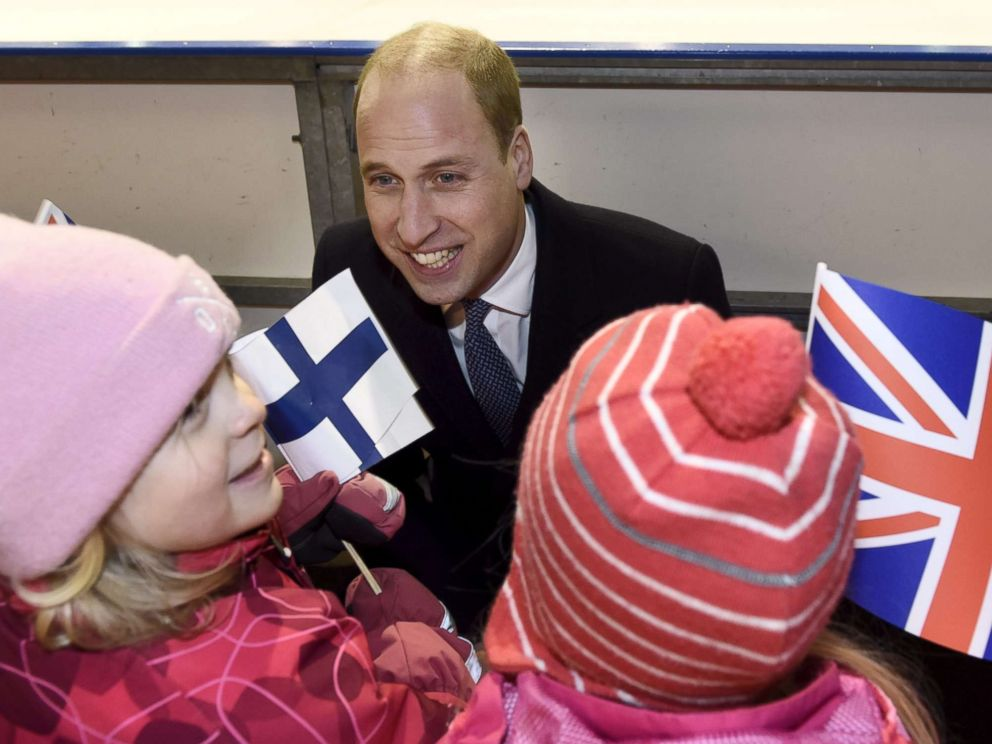PHOTO:Prince William meets young fans during his encounter with the Icehearts, an organization providing preventive child welfare work through team sports, at an ice rink in Helsinki during his visit to Finland, Nov. 29,2017.