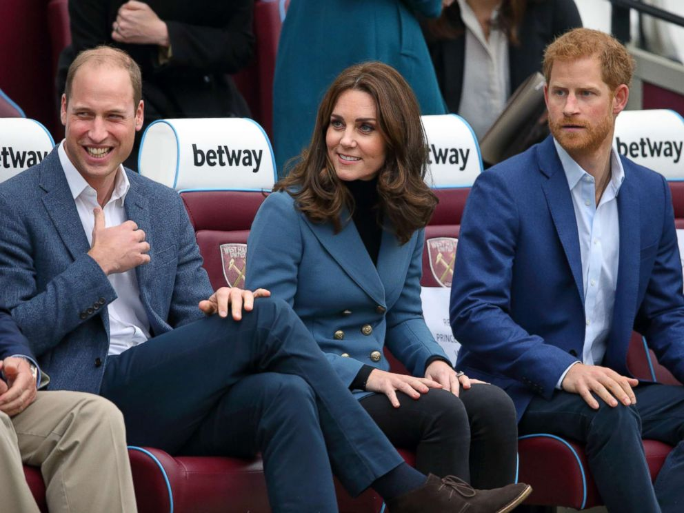 PHOTO: Prince William, Duke of Cambridge, Catherine, Duchess of Cambridge and Prince Harry attend the Coach Core graduation ceremony for more than 150 Coach Core apprentices at The London Stadium on Oct. 18, 2017 in London, England.
