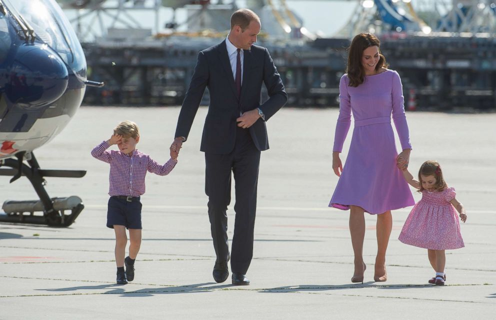 PHOTO: Prince William, Duke of Cambridge, with his son, Prince George of Cambridge, Princess Charlotte of Cambridge and Catherine, Duchess of Cambridge on the last day of their official visit to Poland and Germany on July 21, 2017 in Hamburg, Germany.