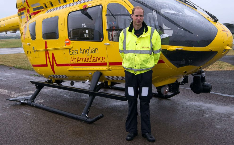PHOTO: Prince William, The Duke of Cambridge begins his new job with the East Anglian Air Ambulance (EAAA) at Cambridge Airport, July 13, 2015 in Cambridge, England.