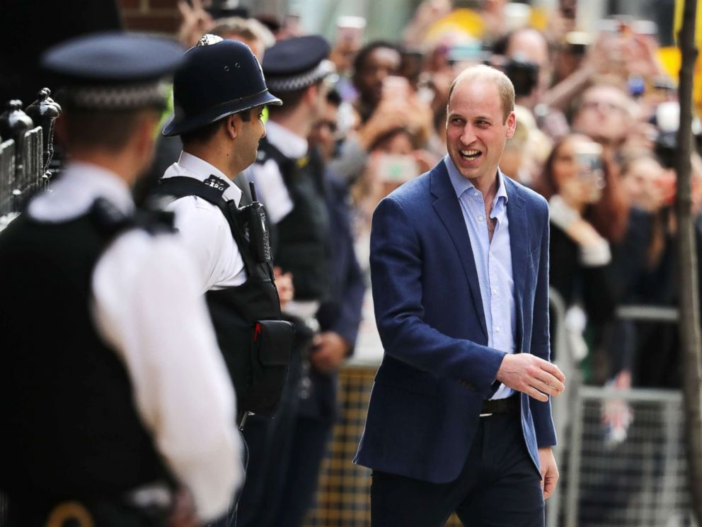 PHOTO: Prince William, Duke of Cambridge, leaves the Lindo Wing of St Marys Hospital after Catherine, Duchess of Cambridge, gave birth to a baby boy on April 23, 2018 in London.