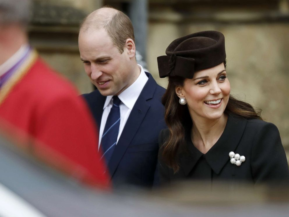 PHOTOGRAPHY: Prince William, Duke of Cambridge and the Duchess of Cambridge retire after attending the Easter Mattins service in the Chapel of St. George, Windsor Castle, on April 1, 2018.