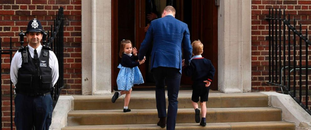 Princess Charlotte of Cambridge, Prince George of Cambridge by their father Britains Prince William, Duke of Cambridge, at the Lindo Wing of St Marys Hospital in London, April 23, 2018, to visit Catherine, Duchess of Cambridge, and their new-born son.